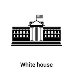White house icon vector sign and symbol isolated on white background, White house logo concept