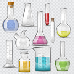 Test-tube vector chemical glass test tubes filled with liquid for scientific research or experiment illustration chemistry set of glassware or flask isolated on transparent background