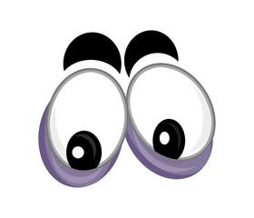 cartoon scene with eyes on white background - illustration for children