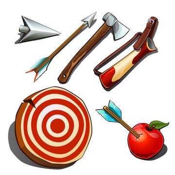 Set of subjects for competitions on accuracy isolated on white background. Vector cartoon close-up illustration.