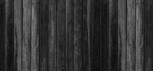 Panorama of black wood planks background