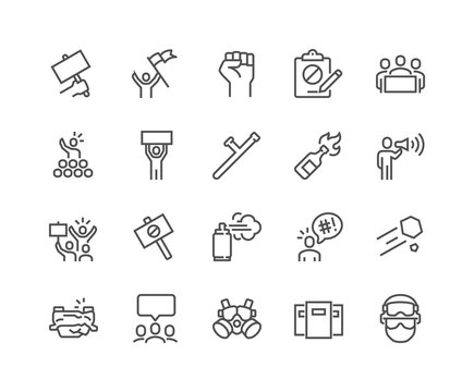 Simple Set of Protest Related Vector Line Icons. Contains such Icons as Petition, Police Forces, Riot, Strike and more. Editable Stroke. 48x48 Pixel Perfect.