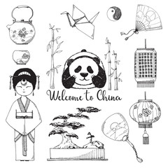 Set of elements of Chinese culture. Vector illustration in sketch style.
