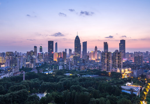 Cityscape of Wuhan city at night.Panoramic skyline and buildings