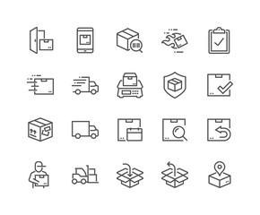 Simple Set of Shipping Related Vector Line Icons. Contains such Icons as Courier, Package Protection, Return and more. Editable Stroke. 48x48 Pixel Perfect.