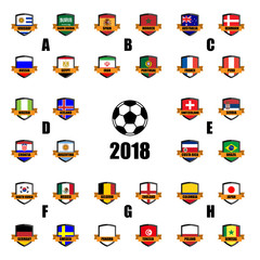 Set of All Nation team Football Badge 3D vector Designed illustration. Football tournament 2018.