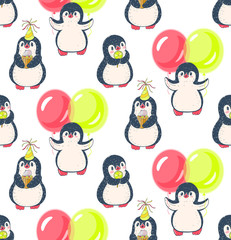 Seamless pattern with cute penguins