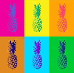Abstract seamless pattern with pineapple. Modern colorful pop art background. Retro concept and duotone design