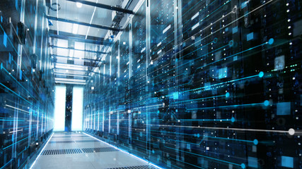 Shot of a Working Data Center With Rows of Rack Servers Connected with LAN Connection Visualisation Lines.