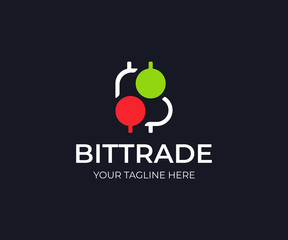 Bitcoin trade logo template. Bitcoin stock market vector design. Bitcoin symbol and trading candlestick logotype