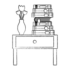 grunge books and flowers vase in the table end