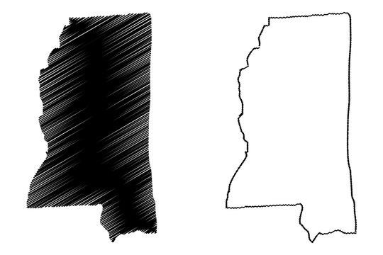Mississippi map vector illustration, scribble sketch Mississippi map