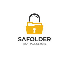 Folder and lock logo template. Secure folder vector design. Data security logotype