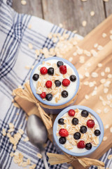 Yogurt. Stone bowl with fresh yogurt and berries on rustic table