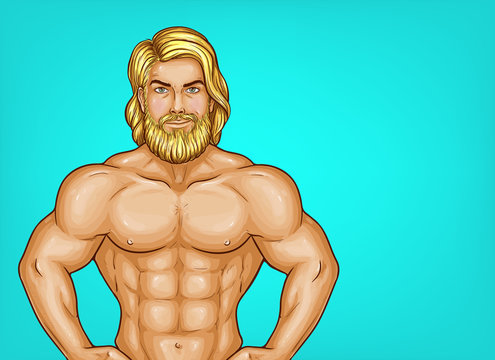 Vector pop art naked chest male character with great muscles. Blonde sportsman, trainer with nude torso and beard. Attractive athlete isolated on blue background