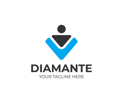 Diamond worker logo template. Recruitment vector design. Search personnel logotype