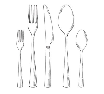 Set of cutlery. Sketch. Vector illustration