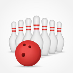 Bowling pins and ball isolated on white background. Vector illustration.