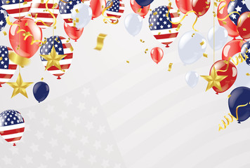 Background banner for 4th july, Independence Day. USA celebration  the United States. Happy Birthday America. and flag patriotic illustration