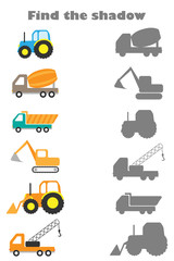 Find the shadow game with pictures of construction transport for children, education game for kids, preschool worksheet activity, task for the development of logical thinking, vector illustration