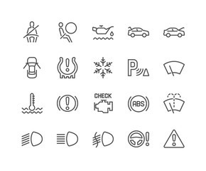 Simple Set of Car Dashboard Related Vector Line Icons. Contains such Icons as Check engine, Tire Pressure, Parking Radar and more. Editable Stroke. 48x48 Pixel Perfect.