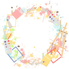 Round wreath frame with easel, paintings and drawing tools