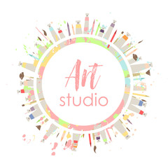 Logo or signboard of art studio. Multi-colored round wreath frame with tubes of paint, brushes and pencils