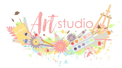 Logo or signboard of art studio. Multi-colored round wreath frame with tubes of paint, drawing tools and flowers