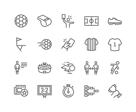 Simple Set of Soccer Related Vector Line Icons. Contains such Icons as Stadium, Field, Championship Cup and more. Editable Stroke. 48x48 Pixel Perfect.