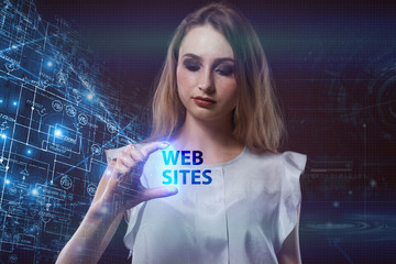 The concept of business, technology, the Internet and the network. A young entrepreneur working on a virtual screen of the future and sees the inscription: Web sites