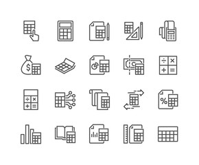 Simple Set of Calculation Related Vector Line Icons. Editable Stroke. 48x48 Pixel Perfect.