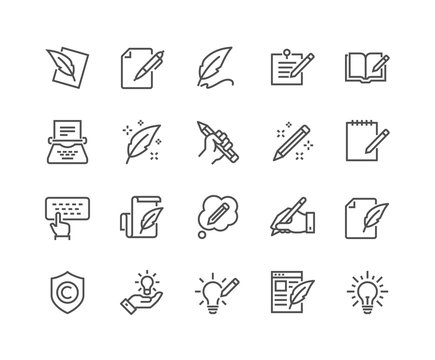 Simple Set of Copywriting Related Vector Line Icons. Editable Stroke. 48x48 Pixel Perfect.