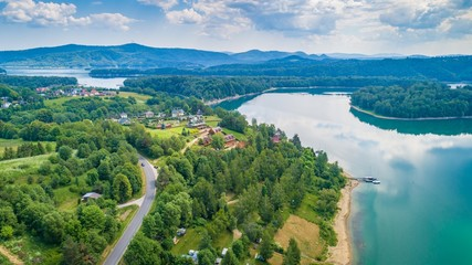 Aerial drone view on beautiful Solina lake in Polish Bieszczady Mountains.