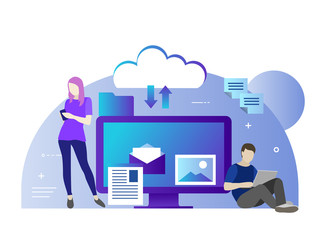 Flat vector illustration of cloud for all devices. All in your device or in cloud storage. Young people use cloud technologies for reading news, chating, foto changing
