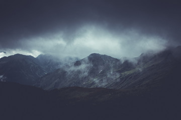 Brooding atmospheric mountain landscape Wall mural