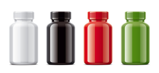 Blank gloss bottles mockups for pills or other pharmaceutical preparations.