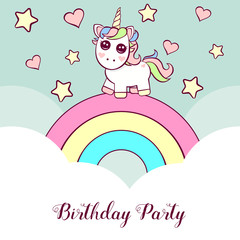 Cute invitation with unicorn