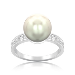 3D illustration isolated silver diamond engagement wedding ring with pearl with reflection