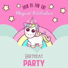 Cute invitation with unicorn
