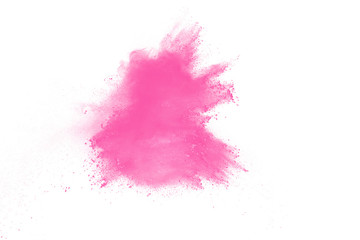 Pink color powder explosion on white background. Launched colorful dust particles splashing.