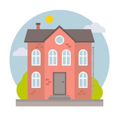 Retro vintage vector flat city house for web design