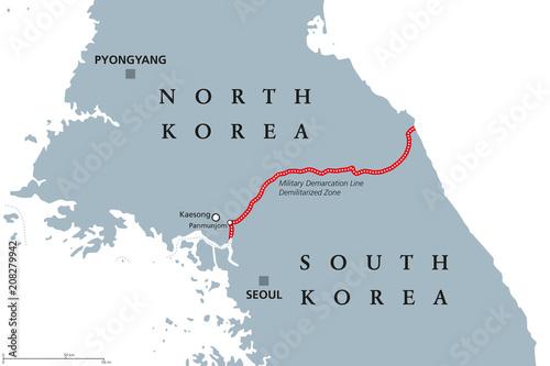 Korean Peninsula, Demilitarized Zone Area, political map ...