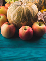 Autumn harvest concept with pumpkin apples and leaves. Thanksgiving still life