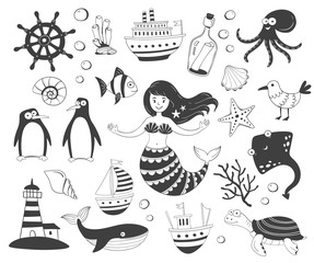 Big set of cute marine elements. Vector illustration.
