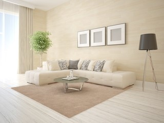 Mock up a perfect living room with a modern interior and a stylish background.