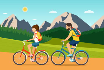 Young woman and man ride the bike. Summer moutain and forest landscape. Flat vector illustration