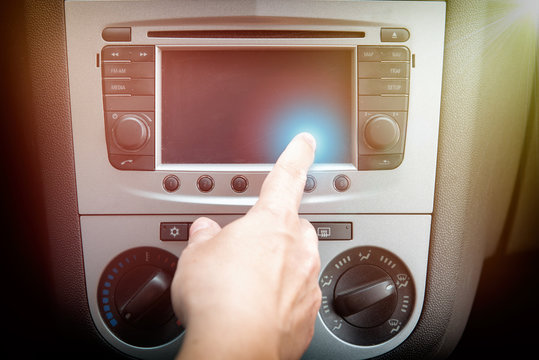 Driver using touchscreen in the car