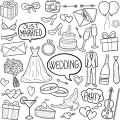 Just Married Wedding Doodle Icon Hand Draw Line Art