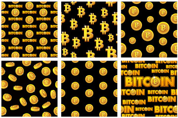collection seamless Patterns Gold Bitcoin coins on black background . Digital internet currency