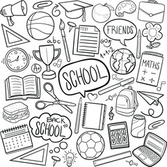 School Tools Learning Doodle Icon Hand Draw Line Art
